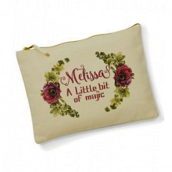 Personalised flowers Make Up Bag. Bridesmaid, Flower Girl Gift.