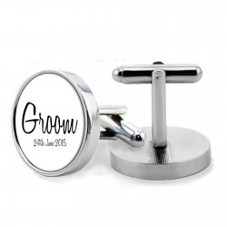 Personalised Groom Cuff links. Gift Boxed perfect gift for your wedding guests.