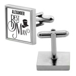 Personalised Wedding Gift Square Chrome Cuff links. Gift Boxed perfect gift for All of your wedding guests.