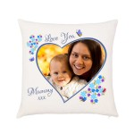 Personalised Photo Cushion. Pretty flower border. Upload your photo from you device or Facebook. Cover & / or Inner Cushion.
