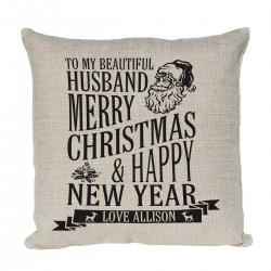Christmas Gift for a special person Personalised cushion. With Xmas design with Santa
