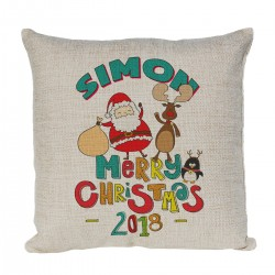 Personalised cushion Xmas Gift for a special person With a cute cartoon Xmas design with Santa, Rudolph and a penguin.