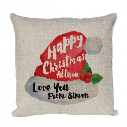 Personalised cushion Xmas Gift for a special person at Christmas with Santa Hat Design.