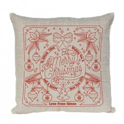 Personalise this unique cushion for a special person at Christmas with this festive design.