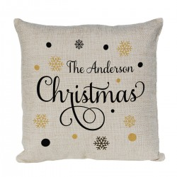 Personalised cushion. With A Pretty Christmas design. Christmas Gift for a special person or family.