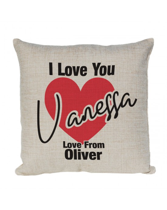 Personalised I Love You Cushion, great gift for Valentines or just because
