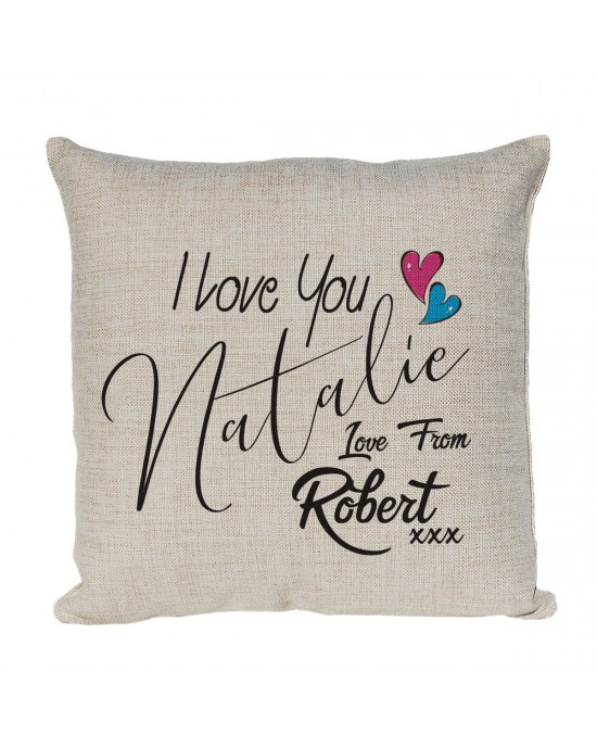 Great gift for Valentines or just because, Personalised I Love You Cushion