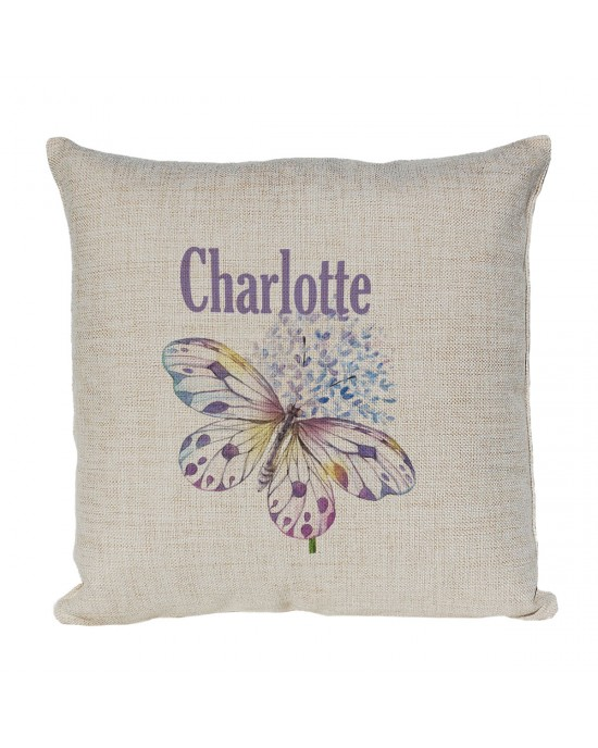 Very Pretty Pastel Butterfly Personalised Linen Cushion