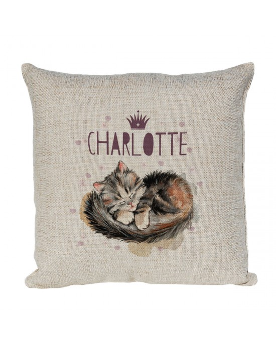 Cute Little Cat Personalised Linen Cushion