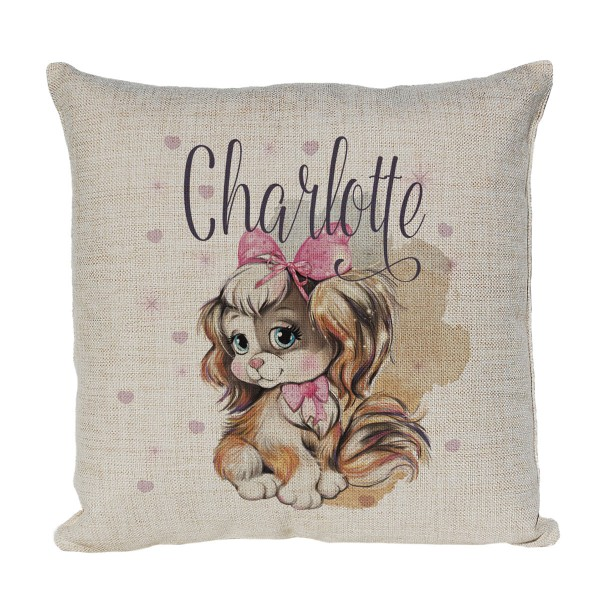 Cute Little Dog Personalised Linen Cushion