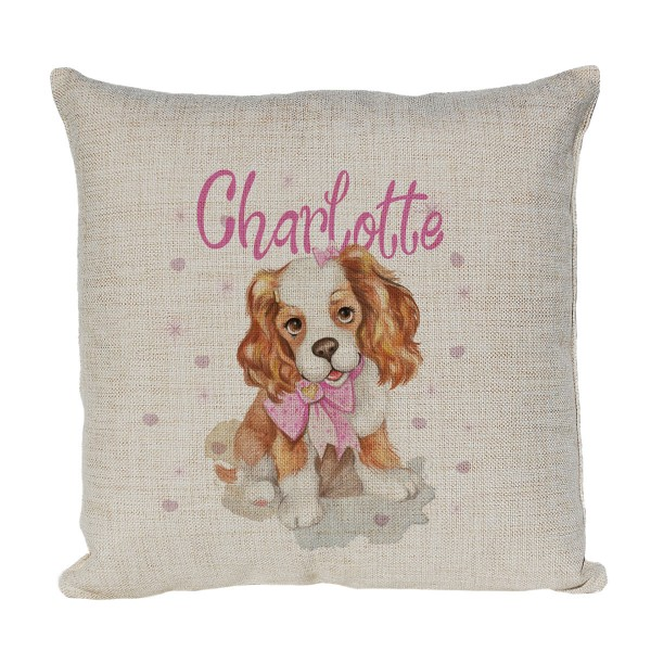Personalised Cushion Printed With A Cute Little Dog In Pastel Colours