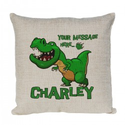 Personalised Dinosaur T-Rex Cushion. Perfect gift for your child's room