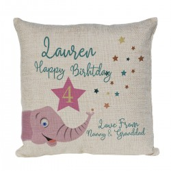 Personalised Cute Cushion Child's Birthday Gift, Cute Elephant Design