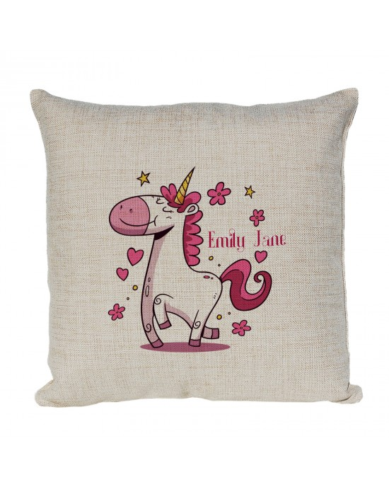Personalised Cushion With A Dancing Unicorn In Pinks. Perfect For a Girls Bedroom
