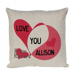 Personalised Linen Cushion With I Love You Design. Fab Mothers Day Gift