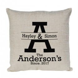 Personalised Cushion. Mr & Mrs  Design With Established Dates
