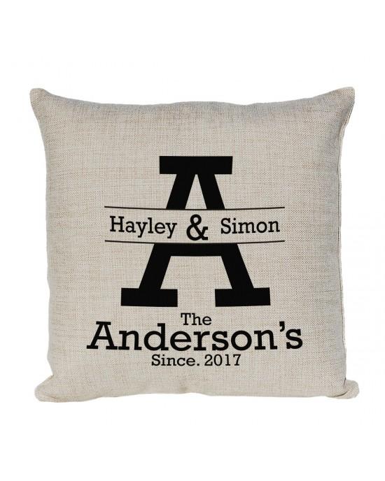 Personalised Cushion. Mr & Mrs  Design With Established Dates