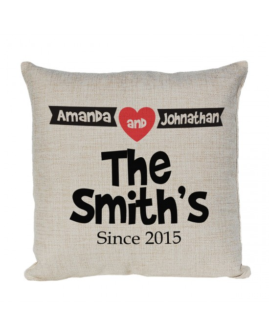 Mr & Mrs Personalised Linen Cushion. With Established Dates