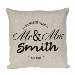 Personalised Linen Cushion. Mr & Mrs Design With Established Dates