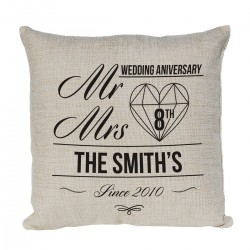 Mr & Mrs Anniversary Gift Personalised Linen Cushion. With Established Dates