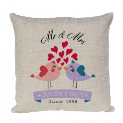 Mr & Mrs Love Birds Personalised Linen Cushion. With Established Dates