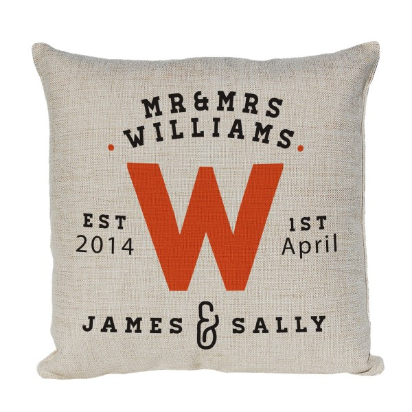 Mr & Mrs Personalised Cushion. With Established Dates & 1st names