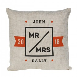 Mr & Mrs Personalised Cushion. With Established Dates and names