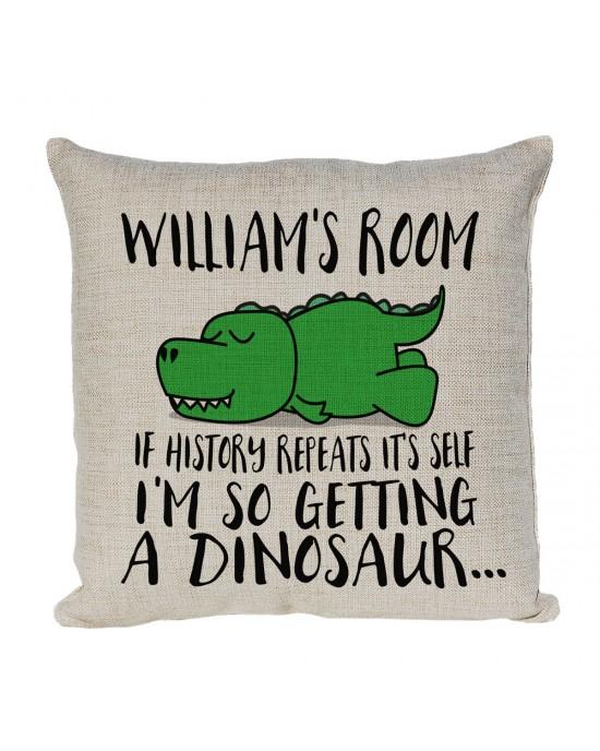 Personalised Cartoon T Rex Dinosaur Cushion. If History Repeats, I'm So Getting A Dinosaur