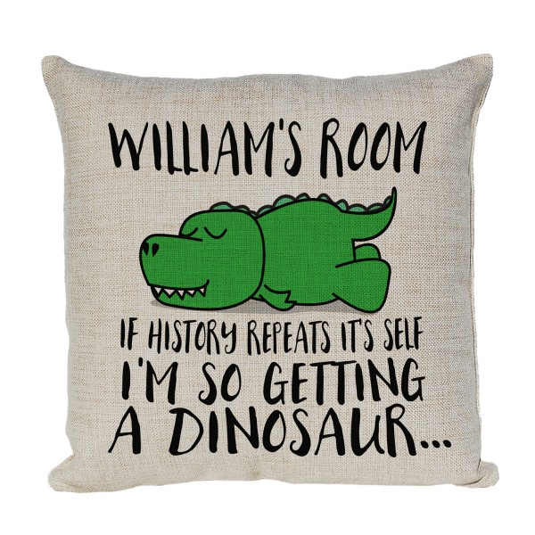 Personalised Cartoon T Rex Dinosaur Cushion. If History Repeats, I'm So Getting A Dinosaur