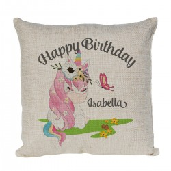 Cute Little Unicorn Personalised Linen Cushion