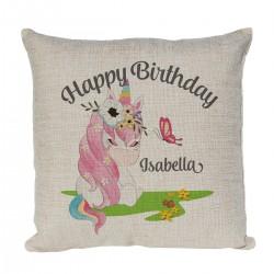 Cute Little Unicorn Personalised Linen Cushion