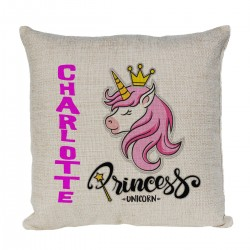 Personalised Princess Unicorn Cushion. Perfect gift for your child's room