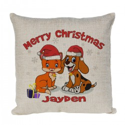 Personalised cushion Xmas Gift for a special person With a cute cartoon Xmas design with A Cat & Dog.