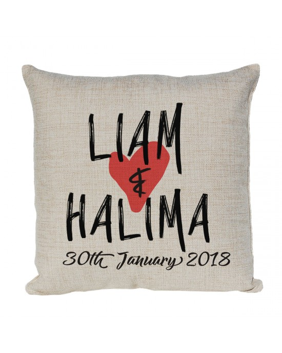 Personalised Linen cushion Printed with 2 first names and a date.