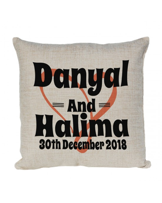 Personalised Linen cushion Printed with Heart Background & 2 names and a date.