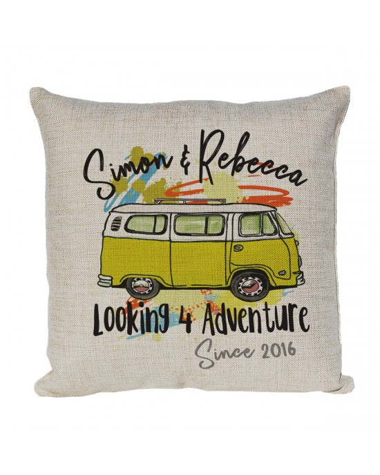 Personalised Linen cushion Printed with a Vintage Camper Van Design in colours