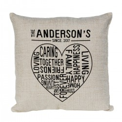 Personalised Family Heart Cushion. The Perfect gift for that Happy Family.