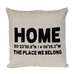 Personalised Cushion With Home and your Homes Latitude & Longitude
