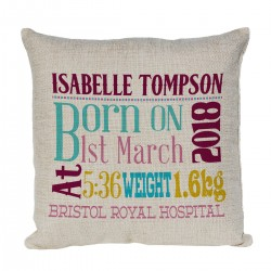 Personalised Cushion. New Baby Gift, Child's Birthday Gift, New Parents Gift.
