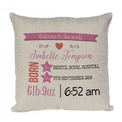 Personalised Cushion. Pretty New Baby Gift, Child's Birthday Gift, New Parents Gift.
