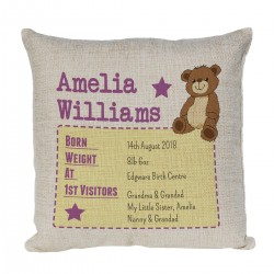 Personalised Cushion. Perfect for recording the details for the little ones birth