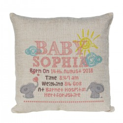Personalised Cushion. Cute Little Elephants Perfect for recording the details for the little ones birth