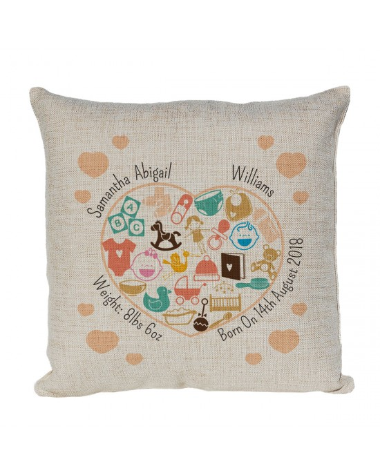 Personalised New Born Cushion. Decorative Heart Motif. Perfect for recording the details for the little ones birth