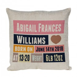 Personalised New Born Cushion. Celebrating the arrival of your new baby, a christening or birthday.