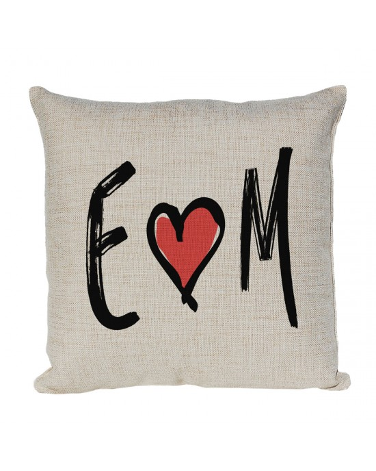 Personalised Linen cushion Printed with 2 initials. Nice gift for a couple