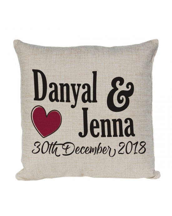Personalised Linen cushion Printed with Heart & 2 names and a date. Nice Gift for a couple housewarming