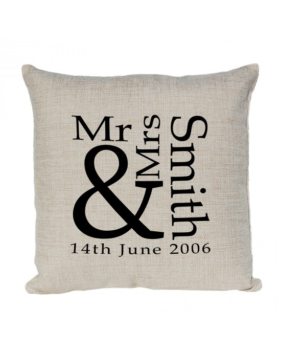 Personalised Mr & Mrs Cushion. the gift for that happily married or newly wed couple.