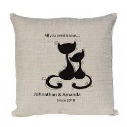 Personalised Cushion Cute 2 Cats Cuddling Up. Perfect for any Loving couple.