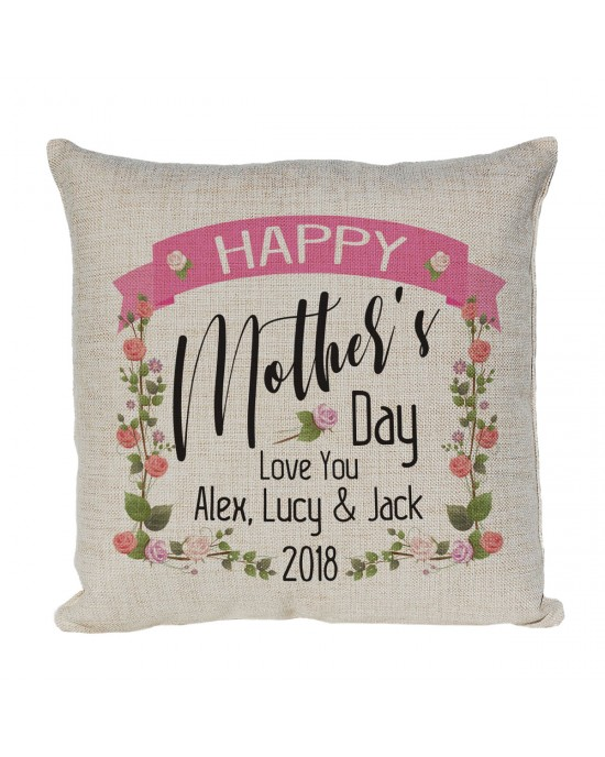 Personalised Mothers day Gift, Pretty Linen cushion would make a lovely gift.