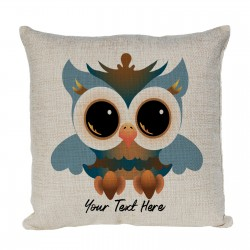 Personalised Owl Cushion. Fun colourful wide eyed owl.